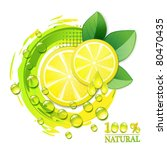 slices yellow lemon with drops... | Shutterstock .eps vector #80470435