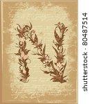 floral letter on paper grunge   Shutterstock .eps vector #80487514
