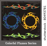 colorful flames and vehicle...   Shutterstock .eps vector #80493781