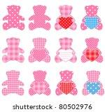 twelve pink teddy bears with... | Shutterstock .eps vector #80502976