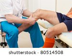 doctor testing a knee for... | Shutterstock . vector #80514508