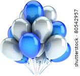 Party balloons happy birthday balloon decoration white blue colors. Anniversary graduation retirement celebrate greeting card design element concept. Detailed 3d render. Isolated on white background - stock photo