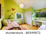 Green cozy beautiful baby girl bedroom. - stock photo