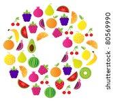 fresh fruit circle isolated on... | Shutterstock .eps vector #80569990