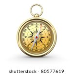 Golden compass on white background. Computer generated image. - stock photo