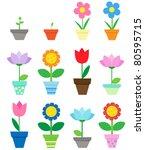 flowers in pots   clip art   Shutterstock .eps vector #80595715