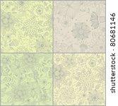 set of floral vintage seamless...   Shutterstock .eps vector #80681146