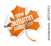 new autumn collection sticker - stock vector