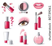 Glamorous make-up icons set - vector.