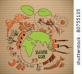 vector environmental doodles on ... | Shutterstock .eps vector #80755135