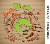 vector environmental doodles on ... | Shutterstock .eps vector #80755135