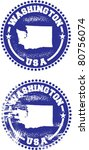 Washington State USA Distressed Stamps - stock vector