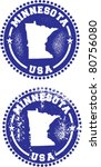 Minnesota State USA Distressed Stamps - stock vector