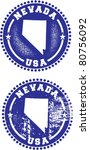Nevada State USA Distressed Stamps - stock vector