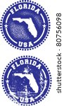 Florida State USA Distressed Stamps - stock vector