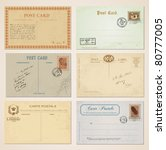postcards and stamps in vintage ... | Shutterstock .eps vector #80777005