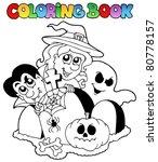 coloring book halloween topic 1 ...   Shutterstock .eps vector #80778157