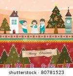Retro Christmas Card. Family...