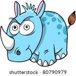 Crazy Insane Rhinoceros Vector Illustration - stock vector