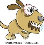 Crazy Insane Puppy Dog Vector Illustration - stock vector