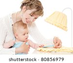 happy young mother with baby | Shutterstock . vector #80856979
