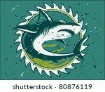 shark hunter emblem | Shutterstock .eps vector #80876119