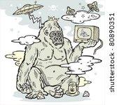 gorilla in the mist with tv in