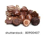 sweet chocolate candy isolated on a white background - stock photo
