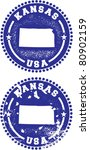 Kansas USA Stamps - stock vector