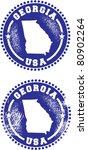 Georgia USA Stamps - stock vector