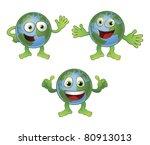 A cute happy fun globe world cartoon character in various poses. - stock photo