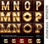 extra beveled gold font plus...   Shutterstock .eps vector #80930290