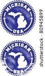 Michigan USA Stamps - stock vector
