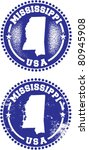 Mississippi USA Stamps - stock vector