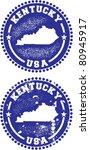 Kentucky USA Stamps - stock vector