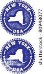 New York USA Stamps - stock vector