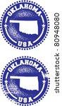 Oklahoma USA Stamps - stock vector