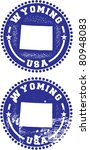 Wyoming USA Stamps - stock vector