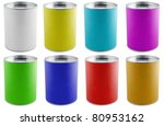 close up of paint container and brush on white background - stock photo