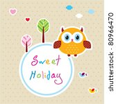 sweet owl holiday tag