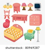 cute cartoon furniture icon set | Shutterstock .eps vector #80969287