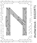 alphabet of printed circuit...   Shutterstock .eps vector #81023971