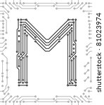 alphabet of printed circuit... | Shutterstock .eps vector #81023974