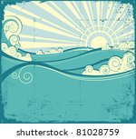 sea waves background. vintage... | Shutterstock .eps vector #81028759