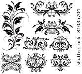illustration of set of floral... | Shutterstock .eps vector #81035704