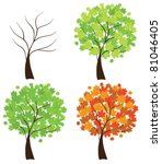vector set of maple trees | Shutterstock .eps vector #81046405