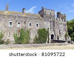 the ruin of a historic castle in normandy france - stock photo
