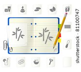notepad with icons | Shutterstock .eps vector #81100747