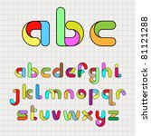 colorful funny alphabet | Shutterstock .eps vector #81121288