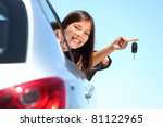 woman driver holding car keys... | Shutterstock . vector #81122965